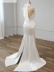 Soft Satin Halter Neck Bridal Gown Floor-length Mermaid/Trumpet Wedding Dress Custom