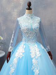 blue tulle long A line prom dress blue evening dress