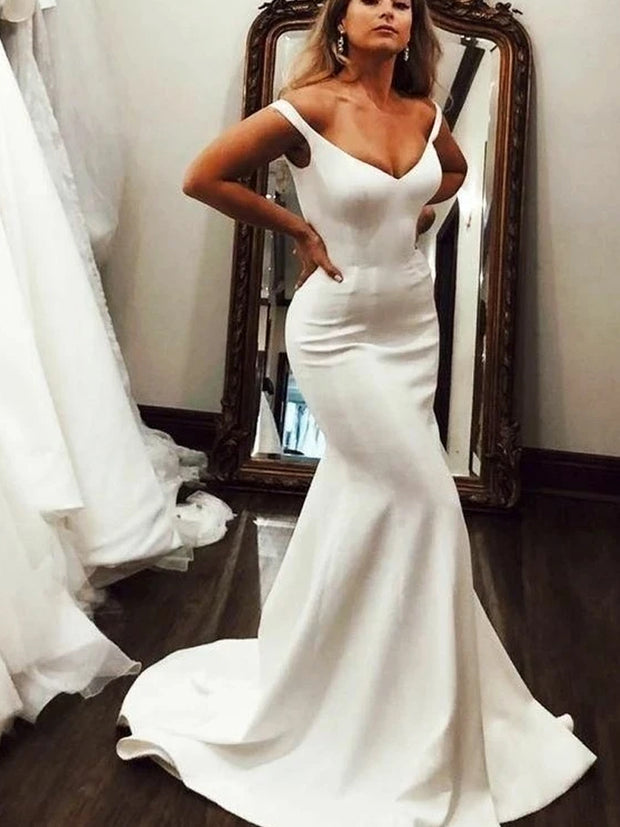 SATIN TRUMPET MERMAID OFF THE SHOULDER WEDDING DRESS