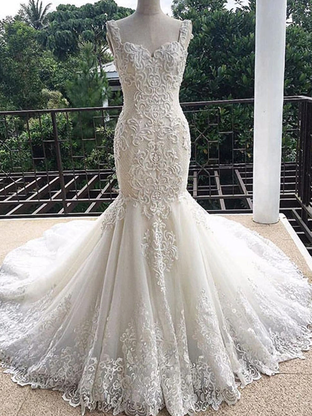 Unique white lace mermaid long wedding dress, lace bridal dress