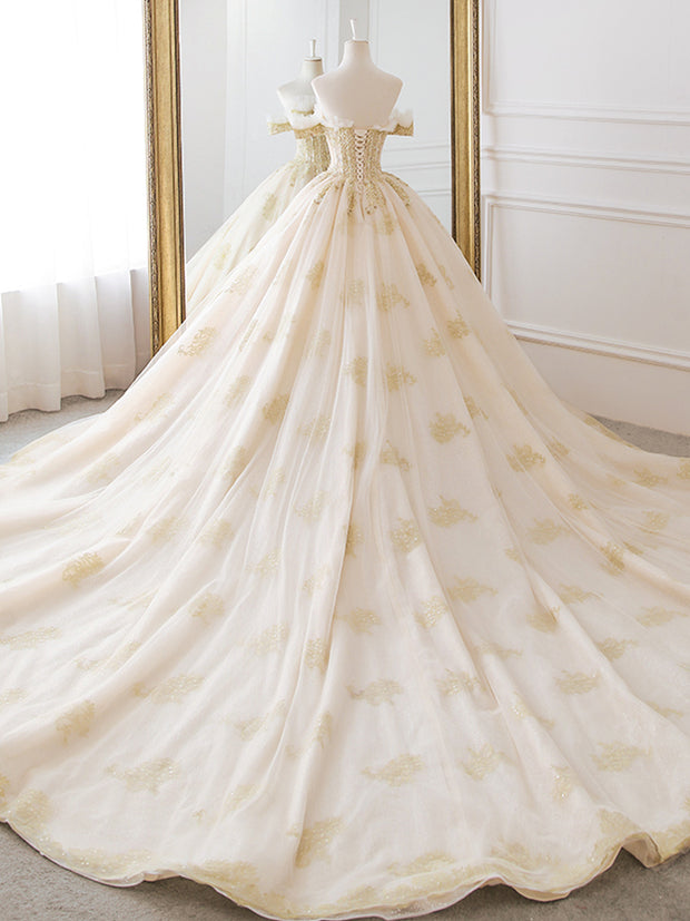 Sexy Boat Neck Vintage Wedding Dress 2019 Chapel Train Simple A Line Bridal Gown