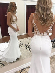 Deep V-Neck Mermaid White Wedding Dress with Lace