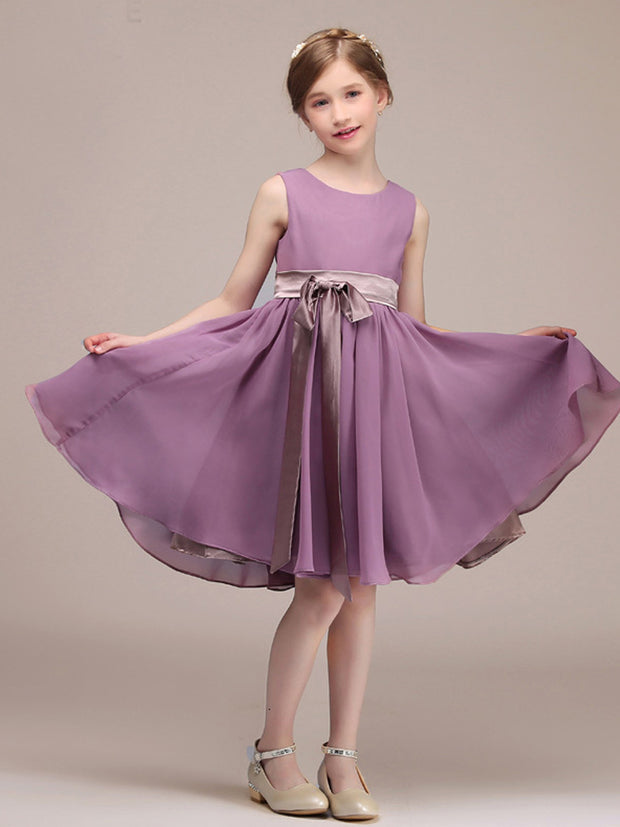A-line Knee-length Princess Chiffon Purple Short Junior Bridesmaid Dresses With Sash 2021New Kids Special Occasion Dresses