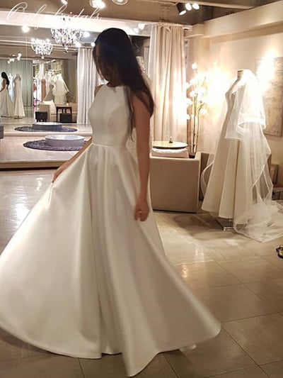 onlybridals Simple Wedding Dress O-neck Sleeveless Satin Bridal Dress White Ivory Korean Women Elegant A-line