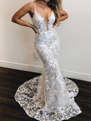 sexy mermaid lace wedding dresses deep  v-neck boho wedding-dress