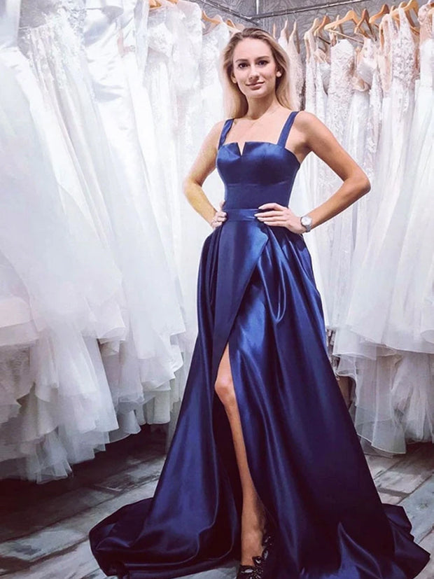 onlybridals Navy Blue Satin Slit Long Prom Dresses Party Dresses