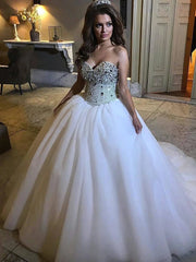 TULLE BEADING BALL GOWN OFF THE SHOULDER WEDDING DRESS