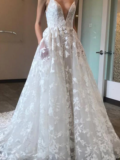 Gorgeous White Tulle A-line Deep V-neck Court Train Lace Wedding Dresses