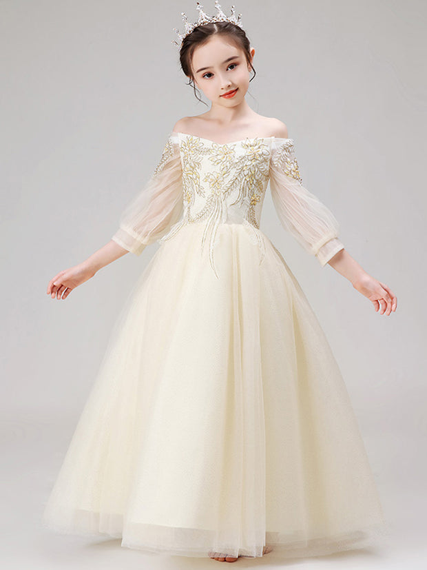 Elegant Boat Neck Off The Shoulder Flower Girl Dresses With Sleeve 2020 Princess Ball Gown Long Tulle Kids Dresses For Wedding