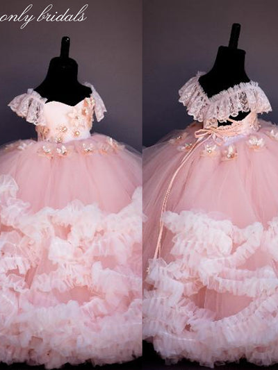 onlybridals Pink Lace Beaded Flower Girl Dresses Ball Gown Hand Made Flowers Cheap Little Girl Wedding Dresses - onlybridals