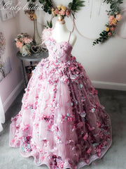 onlybridals 2020 Cute Ball Gown Girls Pageant Dresses Spaghetti Feather Lace 3D Floral Appliqued Flower Girl Dress - onlybridals