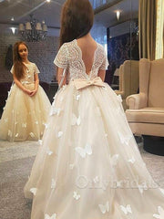onlybridals simple Puffy Layer Flower Girl Dresses Illusion Long Sleeves First Communion Dresses Tulle Ruffles - onlybridals