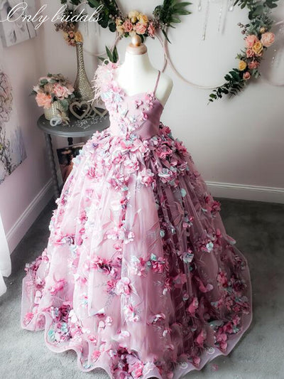 onlybridals 2020 Cute Ball Gown Girls Pageant Dresses Spaghetti Feather Lace 3D Floral Appliqued Flower Girl Dress - The Only Love Wedding Dress