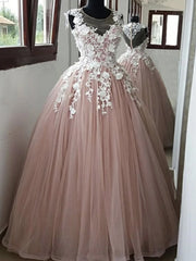 Round Neck Pink Lace Long Prom Dresses Pink Lace Formal Dresses, Pink Evening Dresses