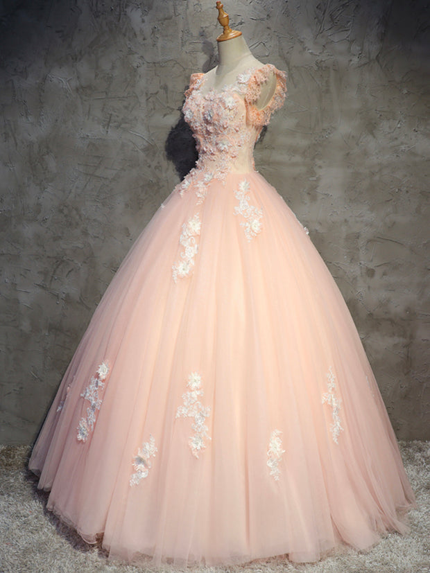 Floral Long Evening Dress Retro Lace Pink Prom Dress Formal Dress Women's Party Dress Floor Length