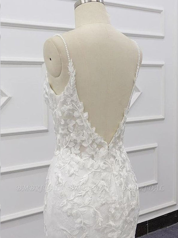 Chic Spaghetti Straps Sleeveless Mermaid Wedding Dresses White Lace Bridal Gowns With Appliques