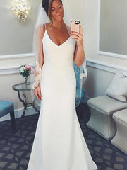 Long V-Neck Spaghetti Strap Mermaid Ivory Wedding Dress
