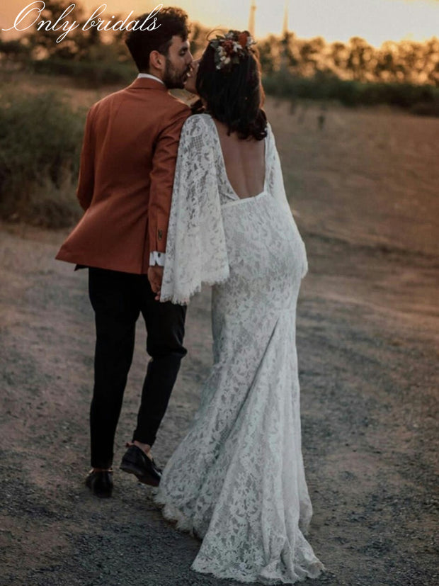 onlybridals 2020 Bohemia Wedding Dresses V Neck Long Sleeves Lace Mermaid Bridal Gowns Custom Made Backless Sweep Train Boho Wedding Dress