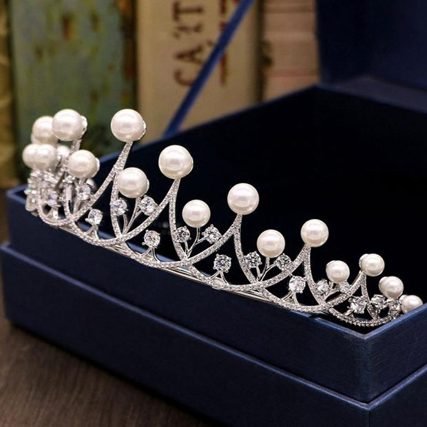 Elegant ivory pearl crown bridal hair accessories 2021 lace headdress earrings bridal jewelry