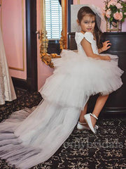 onlybridals White Flower Girl Dress Puffy Shining Princess Dresses For Girls Tulle Bow First Communion Gown Disassemble Skirt - onlybridals
