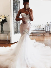 Dear lace wedding dress modern sleeveless mermaid bridal dress