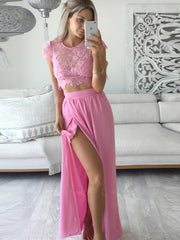 Pink High Slit Two Piece Prom Dress With Lace Top