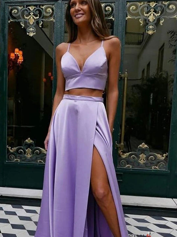 Lilac Satin Two Pieces Spaghetti Straps Sweetheart Prom Dresses