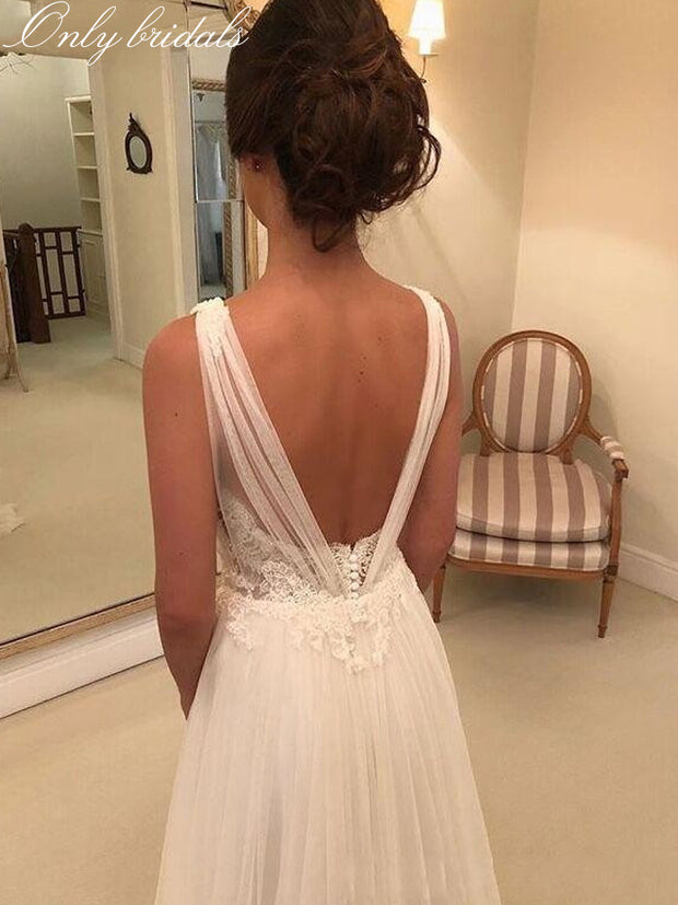 onlybridals Beach Wedding Dresses 2020 V Neck Backless Sweep Train A Line Appliques Garden Country Bridal Gowns vestidos de novia