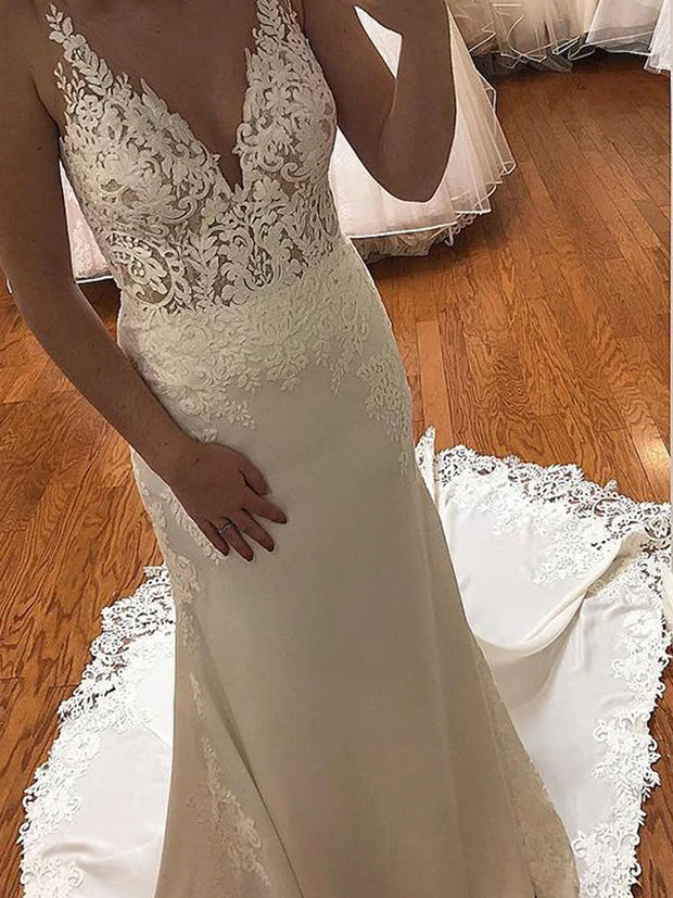 V-Neck Mermaid Ivory Wedding Dress with Lace