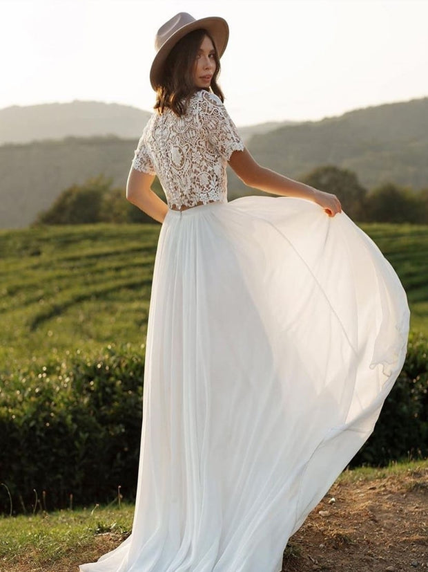 onlybridals Boho Wedding Dress With Sleeves 2020 Simple Beach Chiffon A-Line With Court Train Cheap Sexy O-Neck