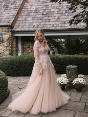 onlybridals Long Sleeve Lace Low Back Plus Size Wedding Dress - onlybridals