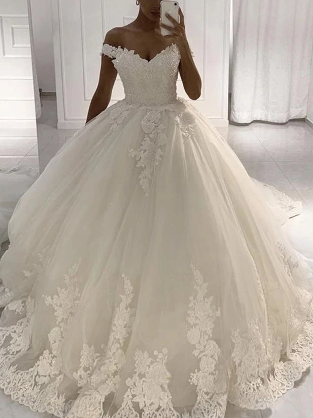 Off Shoulder A-line Lace Tulle Wedding Dresses Ball Gown Dresses, Popular Wedding Gown