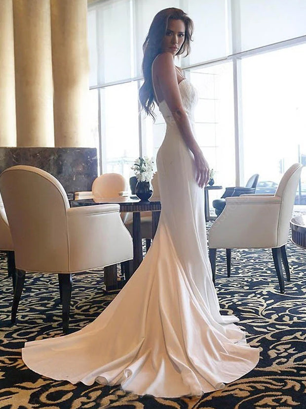 onlybridals Mermaid Wedding Dress Simple Long Cheap Wedding Dress