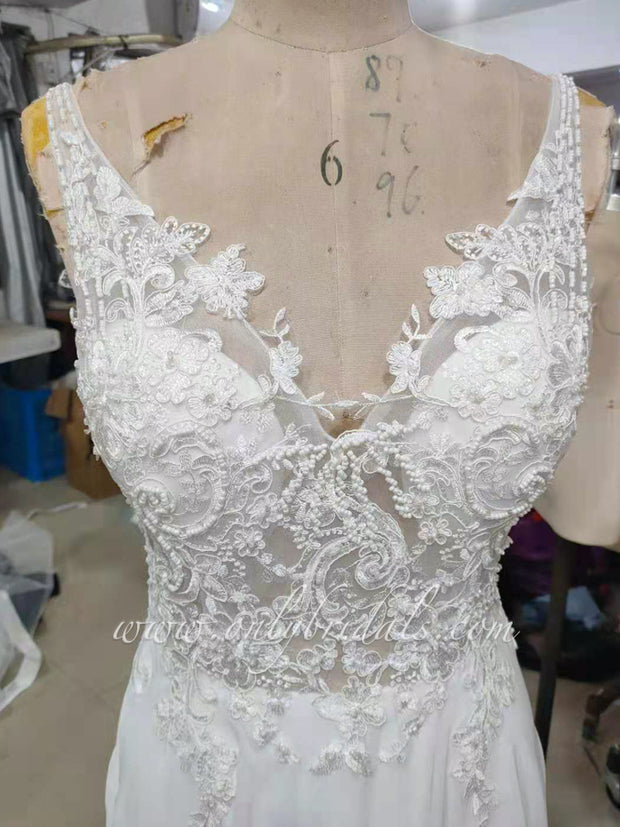 onlybridals Beach Wedding Dress 2021 Side Split Top Lace Boho Bride Dress Sexy Appliques Wedding Gown Custom Made