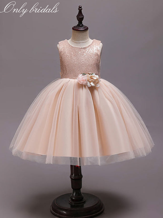 onlybridals Elegant Little Girl Formal Gown With Sequins Princess Champagne Flower Girl Dresses