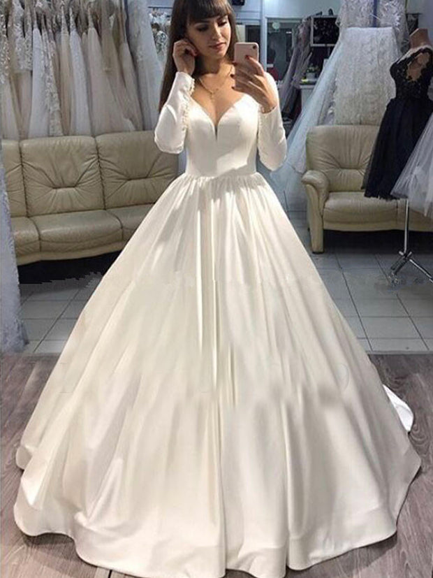 onlybridals 2020 Long Sleeves Bridal Dress V-neck Satin Puffy Ball Gown Wedding Dresses