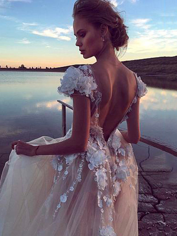 onlybridals A-line Wedding Dresses Sexy Backless Bridal Dress 3D Lace Flowers Fairy Beach