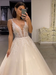 onlybridals Sexy Deep V Neck Lace Wedding Dress 2020 Vestido de Noiva Romantic Tank Sleeve Wedding Bridal Gowns - onlybridals