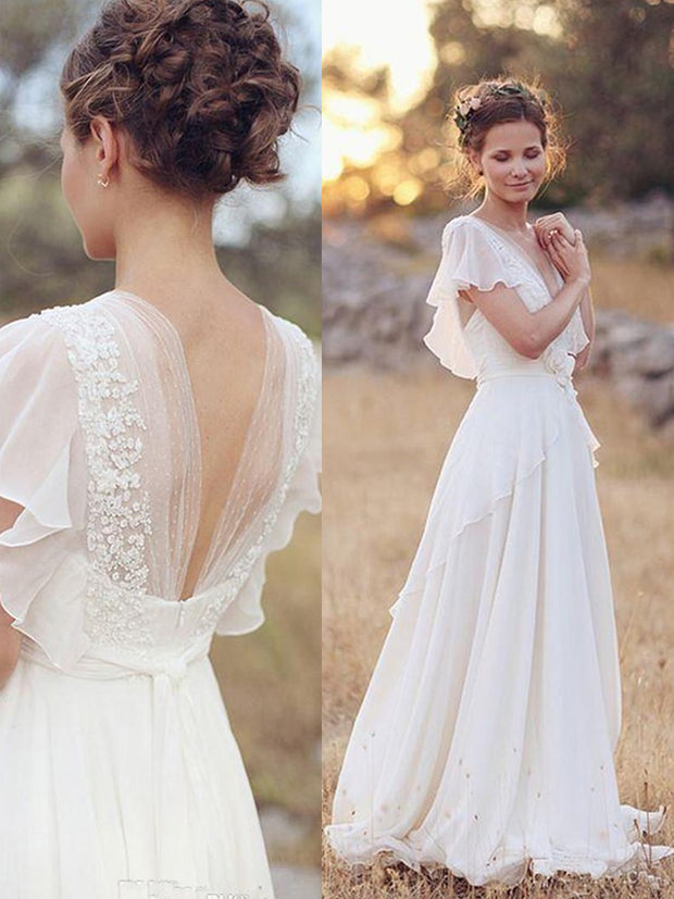 onlybridals 2020 New Beach A-line Wedding Dress Bridal Gowns Backless White Lace Chiffon Boho - onlybridals