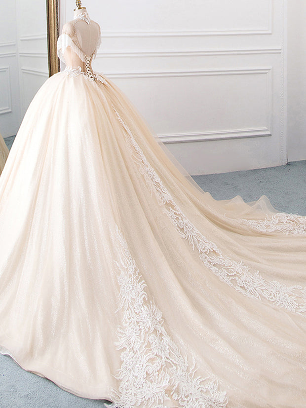 onlybridals New Arrival High Neck Ball Gown Wedding Dresses Princess Tulle  Tassel Sleeves Abiti da Sposa Sparkly Robe Mariee - onlybridals