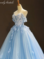 onlybridals Sky Blue Tulle Off Shoulder Sweetheart Neck Long Lace Applique Senior Prom Dress - The Only Love Wedding Dress