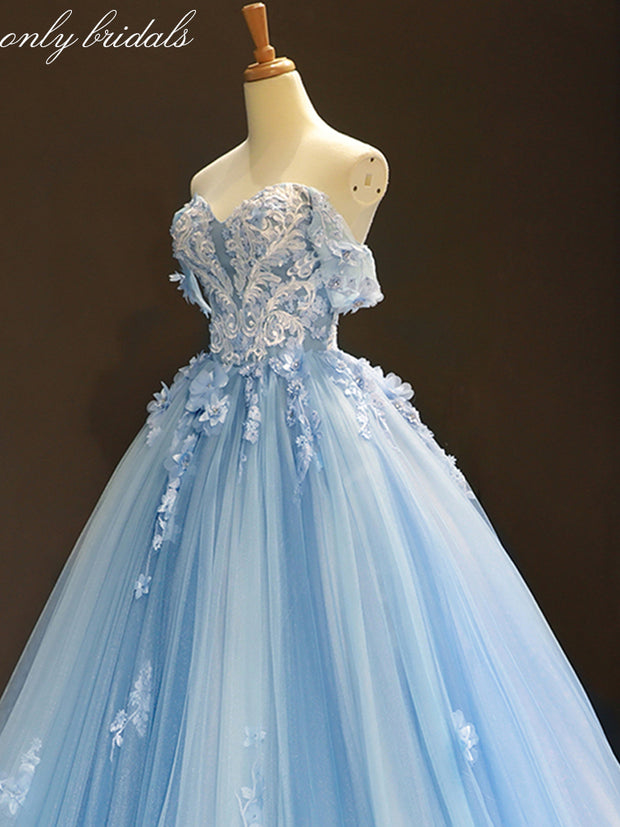 onlybridals Sky Blue Tulle Off Shoulder Sweetheart Neck Long Lace Applique Senior Prom Dress