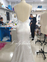 onlybridals Lace Wedding Dresses With Deep V-neck Flare Sleeve Split Long  Factory real pictures - onlybridals