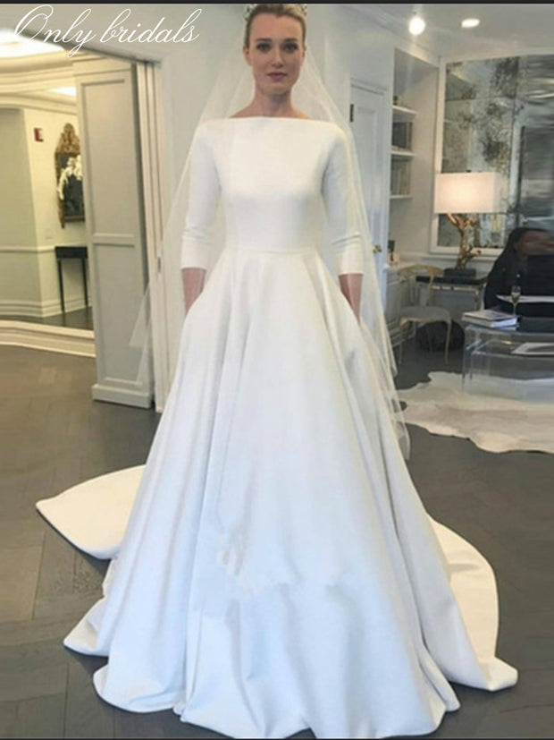 onlybridals Cheap Elegant dressses for weddings 3/4 Long Sleeve Satin A-line Wedding Dress 2020 Bridal Gown