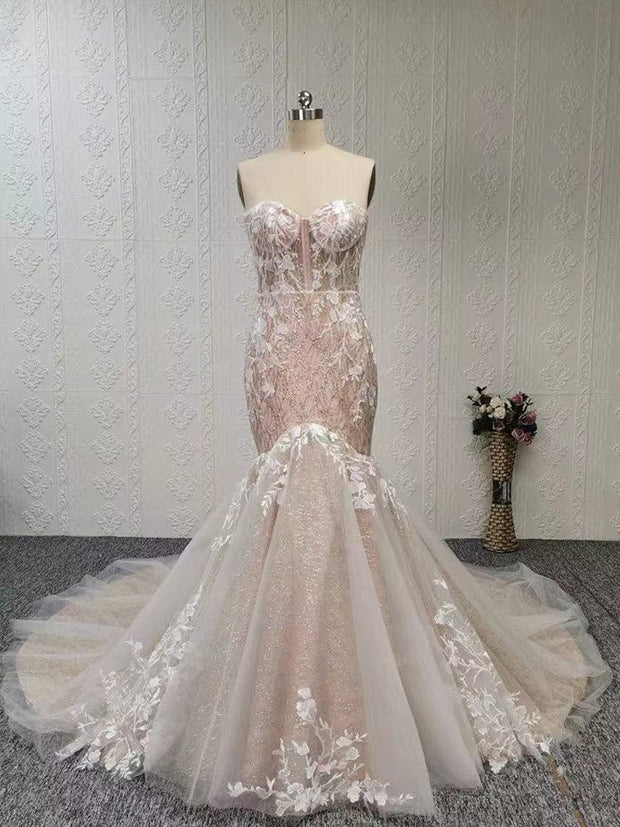 onlybridals Strapless sweetheart mermaid lace long wedding dress customization