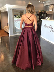 onlybridals Burgundy Satin Lace Top Spaghetti Straps Two Piece Prom Dress