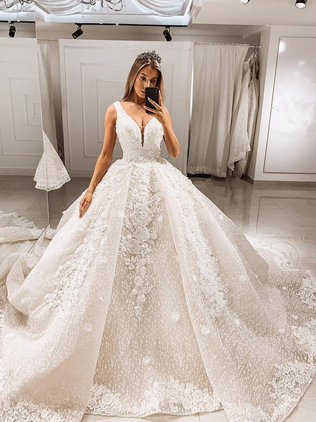 onlybridals Sexy V Neck Lace Ball Gown Wedding Dresses 2020 Elegant Spaghetti Straps Cathedral Train Wedding Bridal - onlybridals