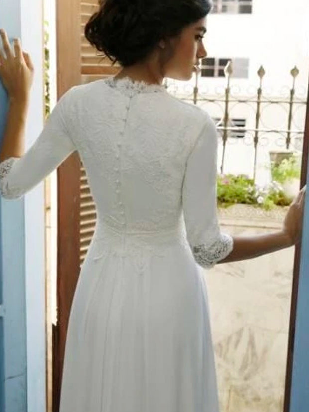 onlybridals  2020 Beach Half Sleeve Lace Wedding Dress - onlybridals