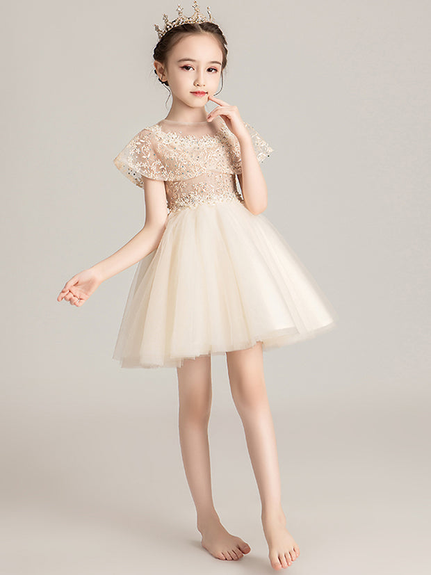 onlybridals Flower Girl Dresses Beading Sash Ball Gowns Lace Appliques Floor Length Flower Girls Princess - The Only Love Wedding Dress