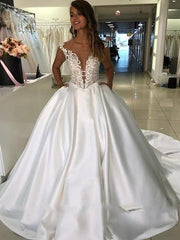 onlybridals Princess Wedding Dress Top Lace Appliqued A-Line Bride Dresses With Pockets Boho 2020